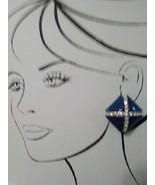 VINTAGE GOLDTONE EARRINGS BLUE DIAMOND SHAPE SPLIT INTO TRIANGLES W/ PAV... - $45.00