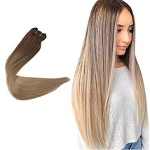 Easyouth Sew in Extensions Double Weft Hair Extensions Color 10 Golden Brown Fad