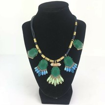 J Crew Statement Necklace Green Acrylic Clear Glass Rhinestone Faux Turq... - $29.69