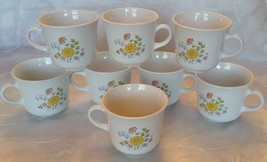 Vtg CORELLE Corning SPRING MEADOW Cups Mugs -Set 8- Floral Pink Yellow B... - $11.95