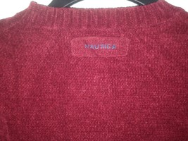 Nautica men sweater long sleeve pull over sz L red maroon - $27.71