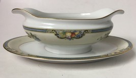 Vintage Noritake Vintonia Gravy Boat w Attached Underplate Fruit Gold Tr... - $49.95