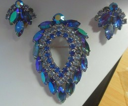 Vintage Signed Sarah Coventry Blue Rhinestone & AB Brooch W/Clip-on Earrings Set - $173.25