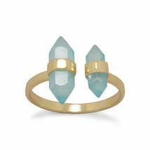 .925 Sterling Silver 14 Karat Gold Plated Spike Pencil Cut Aqua Women's ... - $42.46