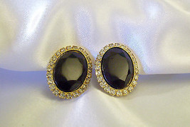HOBE JET BLACK Onyx Oval Rhinestone Frame Clip Earrings Classic Vintage ... - $19.79