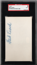 Fred Leach 3x5 Index Card Autograph SGC Authentic P535 - $17.21