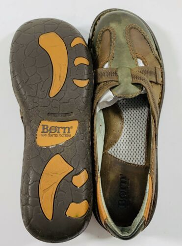 Born Womens size 8.5 Brown Green Leather Slip On Flats Casual Shoes