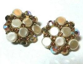 VINTAGE FAKE PEARL YELLOW RHINESTONE CRYSTAL EUGENE SIGNED CLIP ON EARRINGS - $45.00