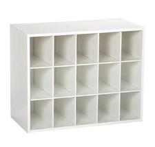 Cubby Wall Storage Shelf System White Closet Organizer System 15 Unit Wa... - $119.99