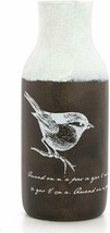 Shabby Chic Style Brown & White 11.75 inches Tall Ceramic Vase with Bird - $29.00