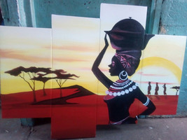 Masai woman carrying a pot acrylic paint / African woman paint / sunset ... - $100.00