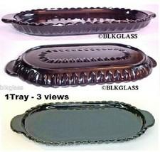 Black Glass Oval  Display Tray 8 x 5 Scallop V  Sugar Creamer Shakers Pe... - $23.99