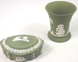 Wedgwood Jasperware Green Covered Dresser Box w/ Lid & Small Vase - L@@K !! - $29.99
