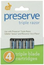 Preserve Triple Razor Blades, 24 cartridges 4 razors in each box, 6 boxes total, image 3