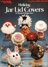 Y049 Crochet PATTERN ONLY Holiday Jar Lid Covers 7 Designs in Worsted Weight Yar - $11.50
