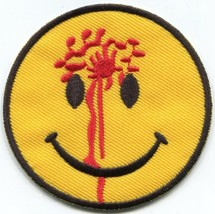Smiley face head shot punk biker fun embroidered applique iron-on patch ... - $2.95