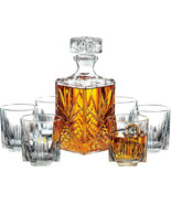 7-Piece Glass Decanter and Whisky Glasses Set Italian Crafted 6 Cocktail... - $38.75