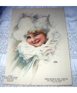 BEAUTIFUL ANTIQUE PRINT-LITTLE WHITE PRINCESS IN WHITE HAT - $68.00