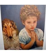 IT'S BEDTIME Lithograph Print-Cute Little Girl Saying Prayer - $38.00