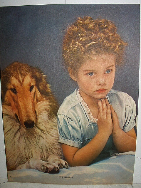 IT'S BEDTIME Lithograph Print-Cute Little Girl Saying Prayer