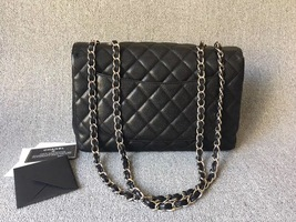 AUTHENTIC CHANEL BLACK CAVIAR QUILTED JUMBO SINGLE FLAP BAG SILVER HARDWARE image 2