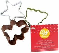 Wilton MINI Colorful Cookie Cutter Set 3 pc Christmas Tree, Star, Gingerbread Ma - $3.26