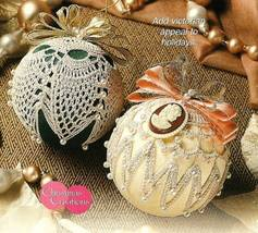 Y072 Crochet PATTERN ONLY 2 Old-Fashioned Christmas Ball Ornaments and Mittens - $7.50