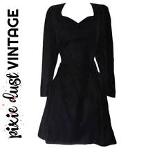 Velvet Dress Sweetheart Long Sleeve Full Party Cocktail Vintage 90s Size... - $46.18