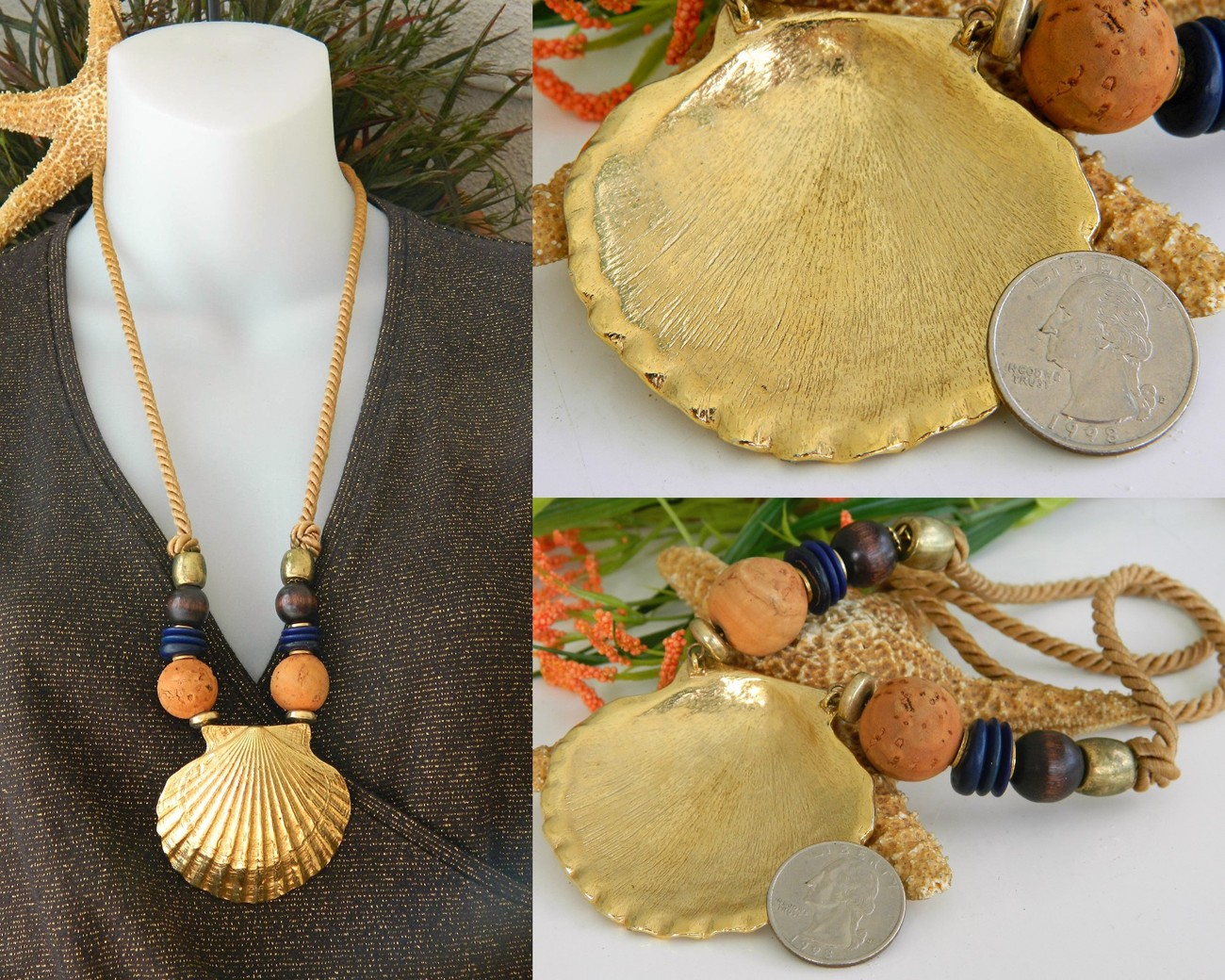 Vintage Scallop Seashell Necklace Shell Cork Wood Beads Cord