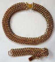 Monet vintage goldtone chain link collar statement necklace bracelet dem... - $35.00