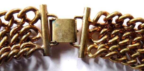 Monet vintage goldtone chain link collar statement necklace bracelet demi parur