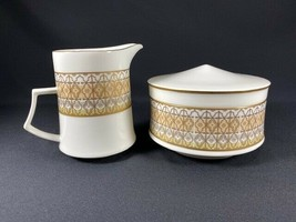 Retired Mikasa Lacerna Creamer & Sugar Bowl Set-Bone China-Gold Silver G... - $39.55