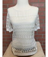 Women's Philosophy Republic Clothing Small Blouse White Sheer Lace (ZZ15) - $9.89