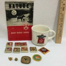 Boy Scout Belt Badges Pins Patches Cup & Nature Merit Badge Series Book 14 Lot  - $28.70