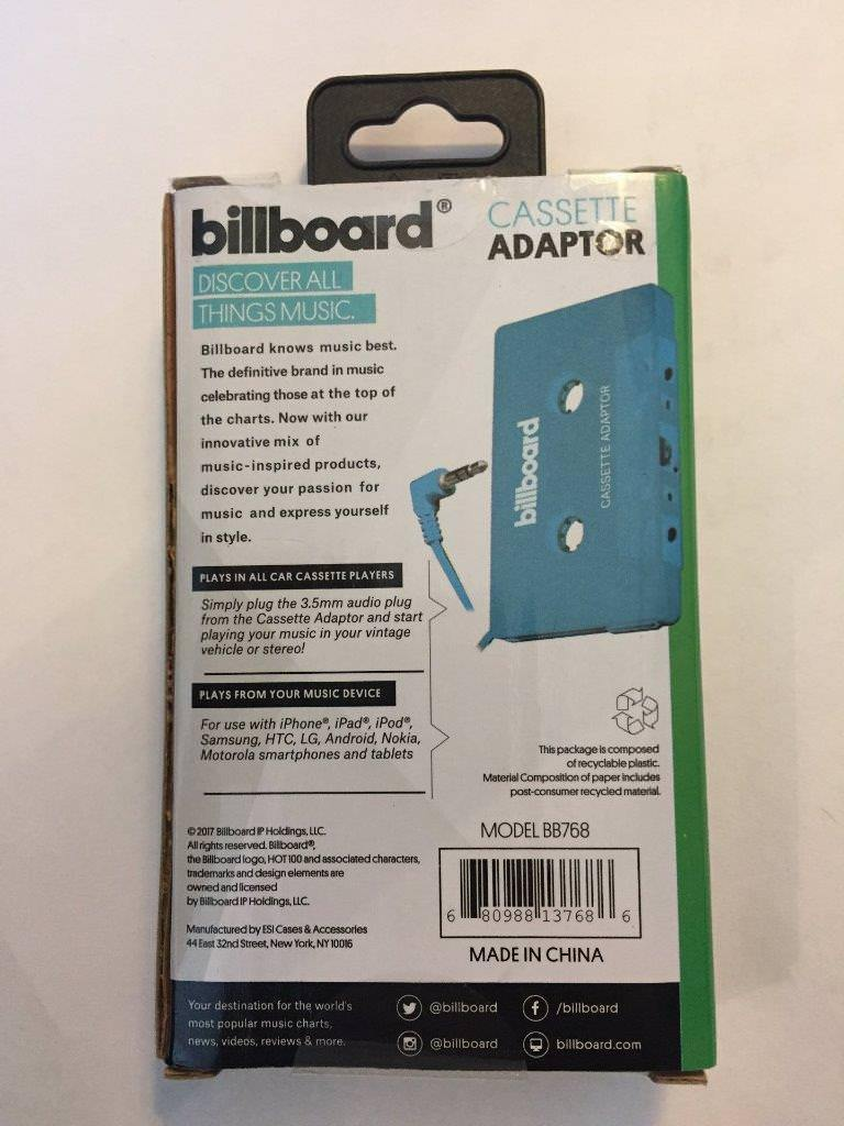 Billboard CASSETTE ADAPTOR NIB NEW/Sealed BLUE For vintage stereo or vehicle