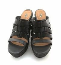 "Ugg Wedge Open Toe Black Leather 4"" Heel Sz 10M Womans Sandal NWT - £67.21 GBP"