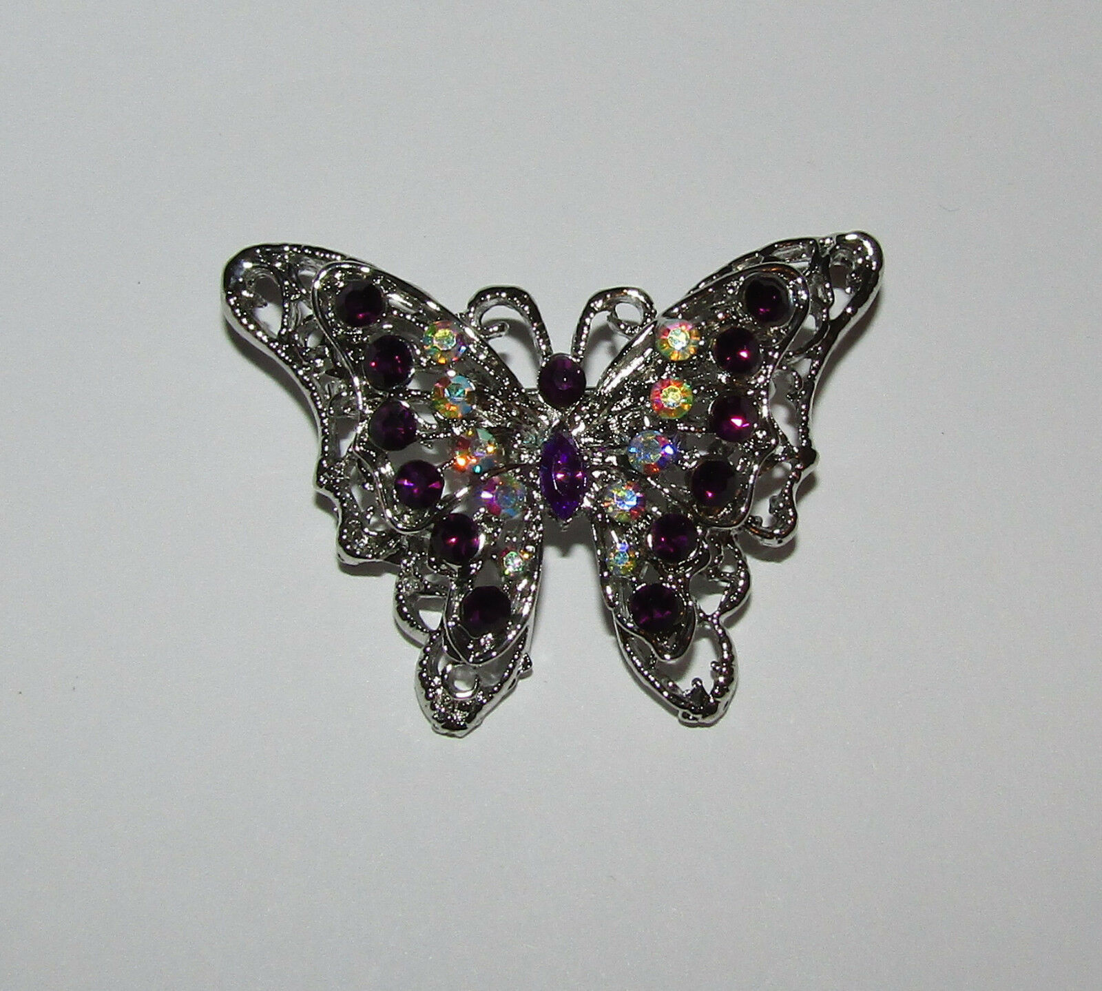 Primary image for Butterfly Pin Silver Tone Purple and AB Accents New Butterflies Jewelry Brooch