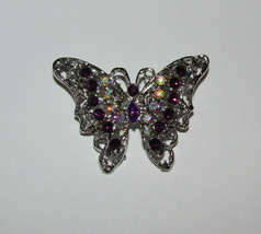 Butterfly Pin Silver Tone Purple and AB Accents New Butterflies Jewelry ... - $12.86