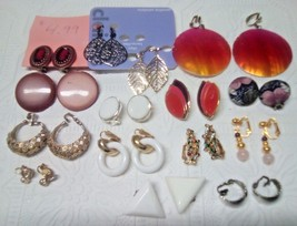 15 pair of clip on earrings. some vintage. Avon... - $14.49