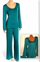Stretch Plus Pajama Set Long Sleeve Long Pants 2X Green 069 - $28.99