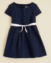 Bloomie's Infant Girls' Eyelet Dress, Navy, Size 18 months, MSRP $46 - $21.77