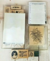 Stampin Up Stamps 90's Lot of 34 Holidays Bears Flowers Christmas Miscel... - $18.86
