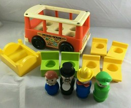 Vintage Fisher Price Mini Van Little People 4 figures bus chairs bed - $24.59