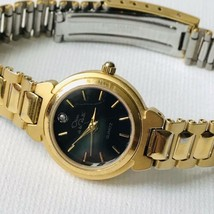 Vintage Oscar de la Renta Women's Diamond Accent Gold Black Watch Fresh ... - $37.62