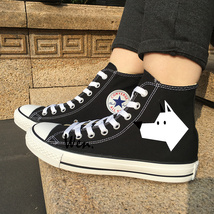 Unisex Black Shoes Original Design Stick Figure Dog Sneakers Converse Chucks - $119.00