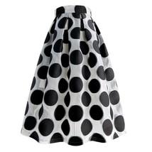 Women White Black Strip Pleated Midi Skirt A-line High Waist Pleated Plaid Skirt image 10