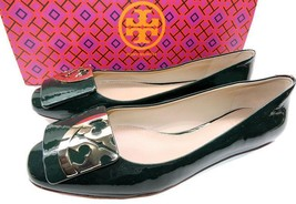 Tory Burch Square Toe Gold Logo Flats Jitney Green Patent Leather Baller... - $168.00