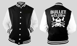Bullet Club Japan Wrestling Letterman Varsity Baseball BLACK/WHITE Fleece Jacket - $29.69