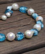Vintage Crown Trifari Blue Art Glass Necklace - $150.00