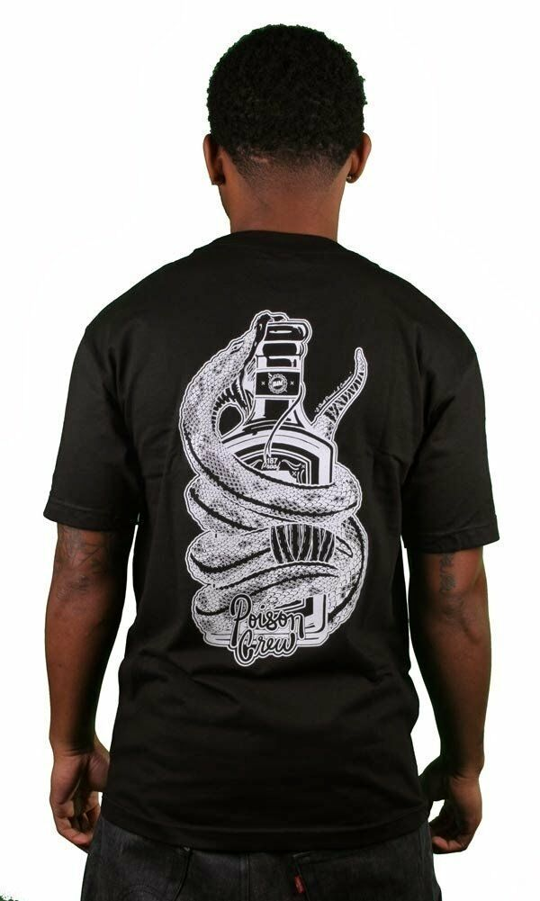 In4mation Poison Crew T-Shirt Back Graphic Snake Venom Black Cotton Tee